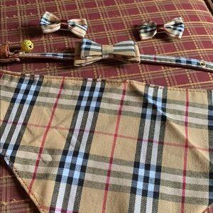 Dog bandanna, bow tie collar and hair clips- new